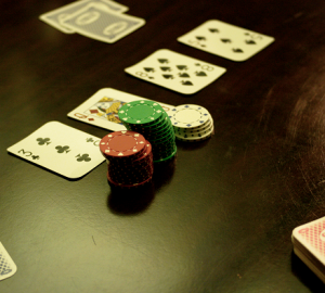 Cards and poker chips on a table