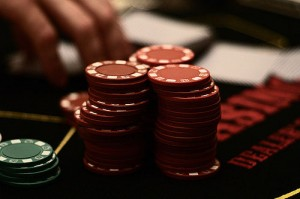 Stack of poker chips at a casino